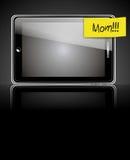 Teléfono elegante con la etiqueta amarilla Fotos de archivo libres de regalías