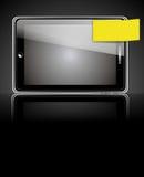Teléfono elegante con la etiqueta amarilla Imágenes de archivo libres de regalías