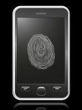 Teléfono elegante con la huella digital de la pantalla táctil Imagen de archivo