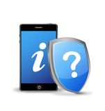Teléfono elegante con la muestra de la pregunta y de la información Fotografía de archivo