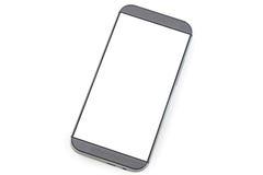 Teléfono elegante con la pantalla en blanco aislada en blanco Imagen de archivo