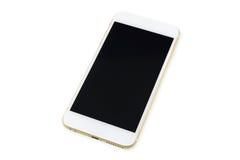 Teléfono elegante con la pantalla negra aislada en blanco Fotos de archivo