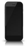 Teléfono elegante con la pantalla negra en el fondo blanco Foto de archivo