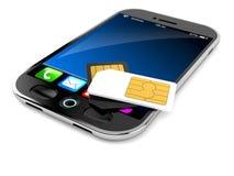 Teléfono elegante con la tarjeta de SIM Fotos de archivo libres de regalías