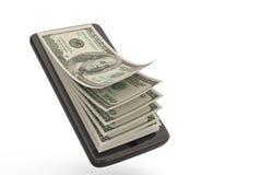 Teléfono elegante con los dólares del concepto del dinero ilustración 3D