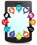 Teléfono elegante con los iconos del perno del mapa 3d de usos stock de ilustración