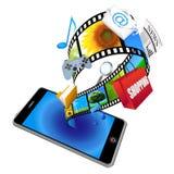 teléfono elegante 3d con muchos iconos del uso Fotografía de archivo libre de regalías