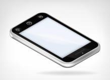 Teléfono elegante de la cubierta negra en la visión isométrica Imagen de archivo libre de regalías