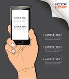 Teléfono elegante de la mano Foto de archivo libre de regalías