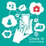 Teléfono elegante de la pantalla táctil, atención sanitaria médica Foto de archivo