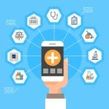 Teléfono elegante del control de la mano con concepto en línea del tratamiento del uso de la medicina de la red social médica de  Imágenes de archivo libres de regalías
