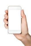 Teléfono elegante en blanco a disposición Fotografía de archivo
