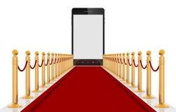 Teléfono elegante en Cartpet rojo fotos de archivo libres de regalías