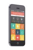 Teléfono elegante móvil moderno negro con el uso casero elegante en t Imagen de archivo libre de regalías
