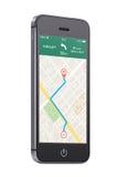 Teléfono elegante móvil moderno negro con la navegación app de los gps del mapa en t Fotografía de archivo libre de regalías
