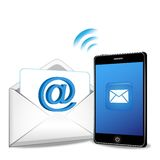 Teléfono elegante que envía el email stock de ilustración