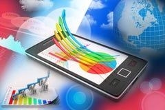 Teléfono elegante que muestra un gráfico del crecimiento y un gráfico de sectores