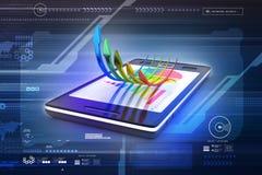 Teléfono elegante que muestra un gráfico del crecimiento y un gráfico de sectores Foto de archivo libre de regalías