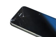 Teléfono elegante quebrado en el fondo blanco Foto de archivo