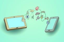 Teléfono elegante, tableta, con el medios uso Imagen de archivo libre de regalías
