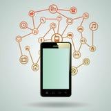 Teléfono elegante, tableta, con el medios uso Fotos de archivo libres de regalías