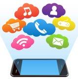 Teléfono elegante y aplicaciones en un blanco Fotos de archivo libres de regalías