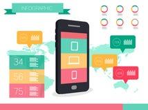 Teléfono elegante y gráficos elegantes de la información de los dispositivos Fotografía de archivo