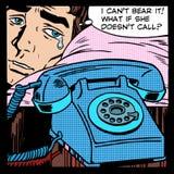 Teléfono gritador de la llamada que espera del amor del hombre Imagenes de archivo