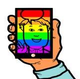 Teléfono homosexual de Person On Social Media Mobile del gay libre illustration