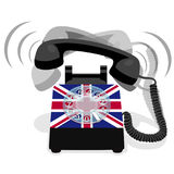 Teléfono inmóvil negro de sonido con el dial rotatorio y la bandera de Reino Unido Imagenes de archivo