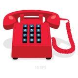 Teléfono inmóvil rojo con el telclado numérico del botón Foto de archivo libre de regalías