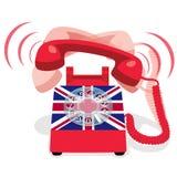 Teléfono inmóvil rojo de sonido con la bandera de Reino Unido Imagen de archivo
