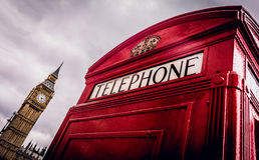 Teléfono Londres de la caja de Big Ben Fotografía de archivo libre de regalías