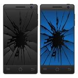 Teléfono móvil agrietado Fotos de archivo