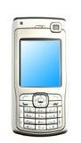 Teléfono móvil aislado verticalmente en el fondo blanco Foto de archivo