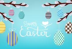Teléfono móvil amarillo Caligrafía que pone letras a la inscripción feliz de Pascua en fondo azul Huevos de Pascua colgantes en W ilustración del vector