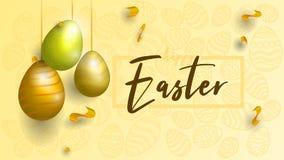 Teléfono móvil amarillo Fondo de Pascua Fondo en sombras del oro ilustración del vector