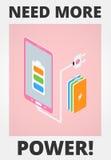 Teléfono móvil - batería baja Fotos de archivo libres de regalías