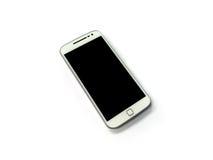 Teléfono móvil blanco en el fondo blanco imagenes de archivo