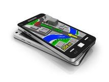 Teléfono móvil como navegador de GPS. Mis los propios diseño.   Fotografía de archivo