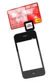 Teléfono móvil con de la tarjeta de crédito Fotografía de archivo libre de regalías