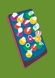Teléfono móvil con diverso icono de las capas Imagen de archivo libre de regalías