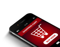 Teléfono móvil con el carro de la compra sobre blanco Fotos de archivo libres de regalías