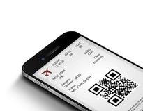 Teléfono móvil con el documento de embarque móvil sobre blanco Fotografía de archivo libre de regalías