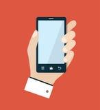 Teléfono móvil con el ejemplo plano de la mano Imágenes de archivo libres de regalías
