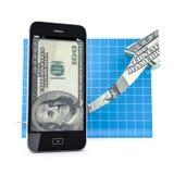 Teléfono móvil con el gráfico de la flecha. Fotografía de archivo libre de regalías