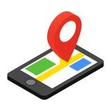Teléfono móvil con el icono isométrico 3d del navegador de GPS Fotos de archivo