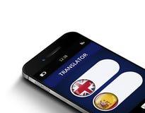 Teléfono móvil con el uso del traductor de la lengua sobre blanco Imágenes de archivo libres de regalías
