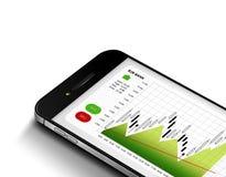 Teléfono móvil con la carta del mercado de acción aislada sobre blanco Fotografía de archivo libre de regalías