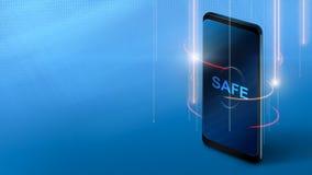 Teléfono móvil con la pantalla segura en fondo azul foto de archivo